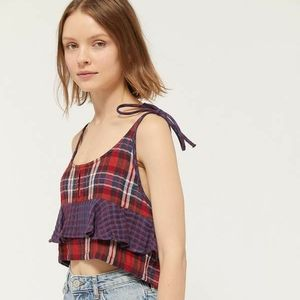 Red blue contrast plaid tie strap cropped tank top